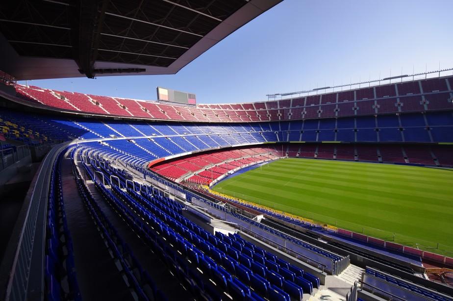 wide view of FC Barcelona (Nou Camp) soccer stadium